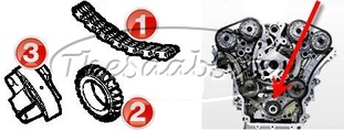 V6 TIMING CHAIN COMPONENTS (CENTER SECTION)