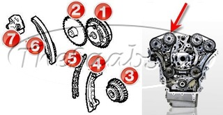 V6 TIMING CHAIN COMPONENTS (REAR BANK)